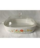 Vintage Corning Ware Wildflower Casserole Dish A-10-B 2.5 Liter Domed Gl... - $17.95