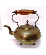 Antique Brass Footed Kettle with Lid & Amber Glass Handle Vintage Decor - $34.64