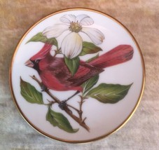 """Franklin Porcelain Songbirds World 3 1/4"""" Miniature Collector Plate Red ... - $8.90"""