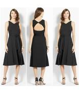 Ann Taylor Black V-Neck Ponte Back Cutout A-Line Dress - Size 4 - 6 - $74.95