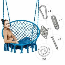 Greenstell Hammock Chair Macrame Swing with Hanging Kits, Hanging Cotton... - $68.69