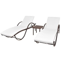 vidaXL Sunloungers w/ Table 5 Piece Poly Rattan Brown Patio Garden Chair... - $261.99
