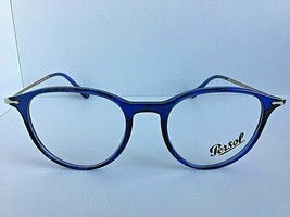 New Persol 31471053 50mm Rx Round Blue Eyeglasses Frame Hand Made in Italy - $89.99