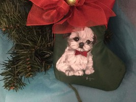 SHIH TZU PUPPY HAND PAINTED STOCKING CHRISTMAS ORNAMENT - $81.25