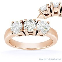 Forever One D-E-F Round Cut Moissanite 3-Stone Engagement Ring in 14k Rose Gold - €738,68 EUR - €1.888,37 EUR