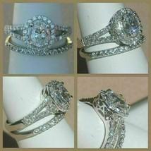 3.30Ct Oval White Diamond Halo Engagement Wedding Ring Set in 14K White ... - £231.10 GBP