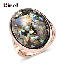 Kinel Luxury Colorful shells Ring For Women Dazzle Artificial Coral Acce... - $8.13