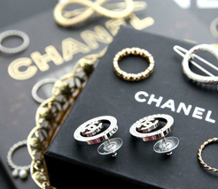 Authentic Chanel CHANEL 2017 Large Crystal CC Logo Circle Earrings -Gorgeous! image 9
