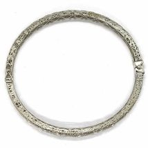 SOLID 18K WHITE GOLD BRACELET, RIGID, BANGLE, FINELY NEST WORKED WITH FLOWERS image 5