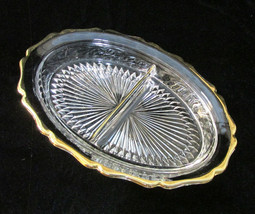 Vintage Jeannette Clear Glass Oval Divided Relish Dish Bowl Gold Trim Sc... - $10.88