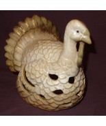 "Turkey Thanksgiving Tea Light Candle Holder 7"" Table Top Centerpiece Cream Color - $39.99"