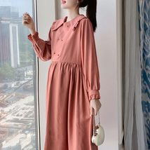 Maternity Dress Long Sleeve Solid Color Loose Dress image 2