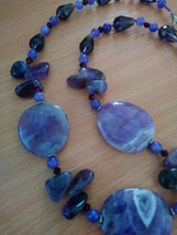 Natural Stone Amethyst Purple Crystals Beautiful Necklace  length 22 / 2... - $48.00
