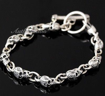 Mens Sterling Silver Bracelet Solid Skull Chain Hip Hop Biker Beach wear b12