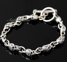 Mens Sterling Silver Bracelet Solid Skull Chain Hip Hop Biker Beach wear... - $183.84