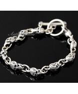 Mens Sterling Silver Bracelet Solid Skull Chain Hip Hop Biker Beach wear... - $183.84