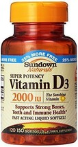 Sundown Naturals Vitamin D3 2000 IU, 150 Softgels - $9.40