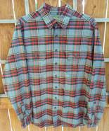 Eddie Bauer Sport Shop Flannel Shirt-L-Grey/Red-Plaid-Button Pockets-Col... - $30.84