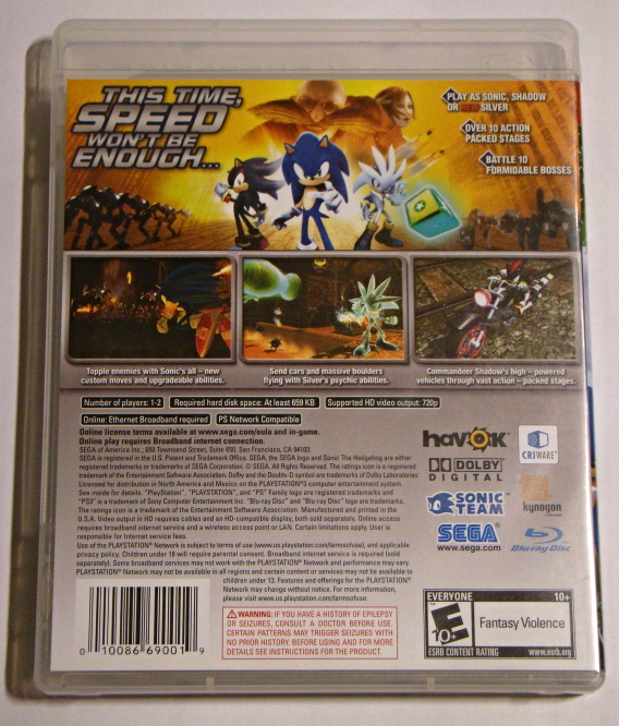Playstation 3 - SONIC THE HEDGEGOG (Complete with Manual)