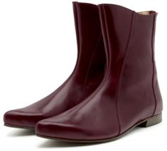 Prepossessing Bulgarian Rose Low Heel,Back Zip & Pointed Toe Women Leather Boots - $149.99+