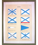 FLAGS Russia Naval Marine Admiral Commodore - 1899 Color Litho Print - $16.20