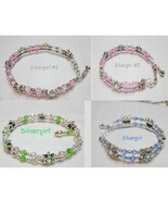 Swarovski Beaded Cuff Bracelets Glass Crystal Pink Green Blue Topaz - $14.99+