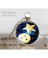 Moon and Star Pendant Necklace, Celestrial, Astrology Stars, photo glass... - $14.00