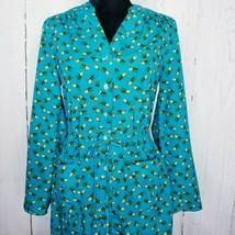 Spense Womens Dress Size 6 Blue Pineapple Cinch Belt Pockets Button Up S... - $15.83