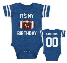 Baby Boy Half Birthday Onesie Personalized Football Bodysuit Outfit Set - $21.95 - $27.95