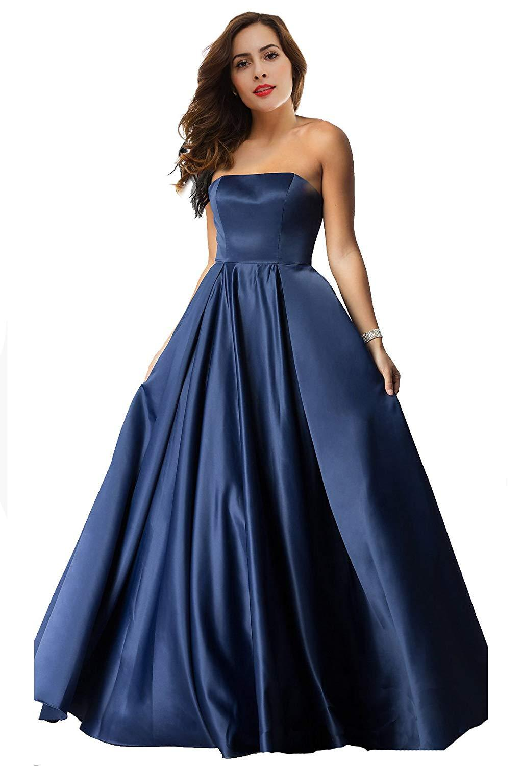 Primary image for Satin Prom Dresses 2019 Long Strapless Formal Bridesmaid Evening Ball Gowns 2019