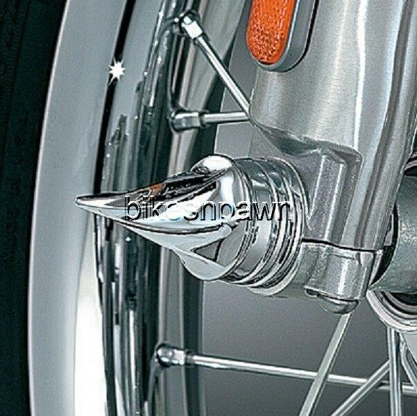 New Kuryakyn 1217 Twisted Chrome Front Axle Cover Caps (Pr) 80-07 Harley