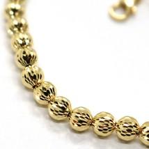 18K YELLOW GOLD BRACELET 19 CM, FINELY WORKED SPHERES BIG 5 MM DIAMOND CUT BALLS image 2