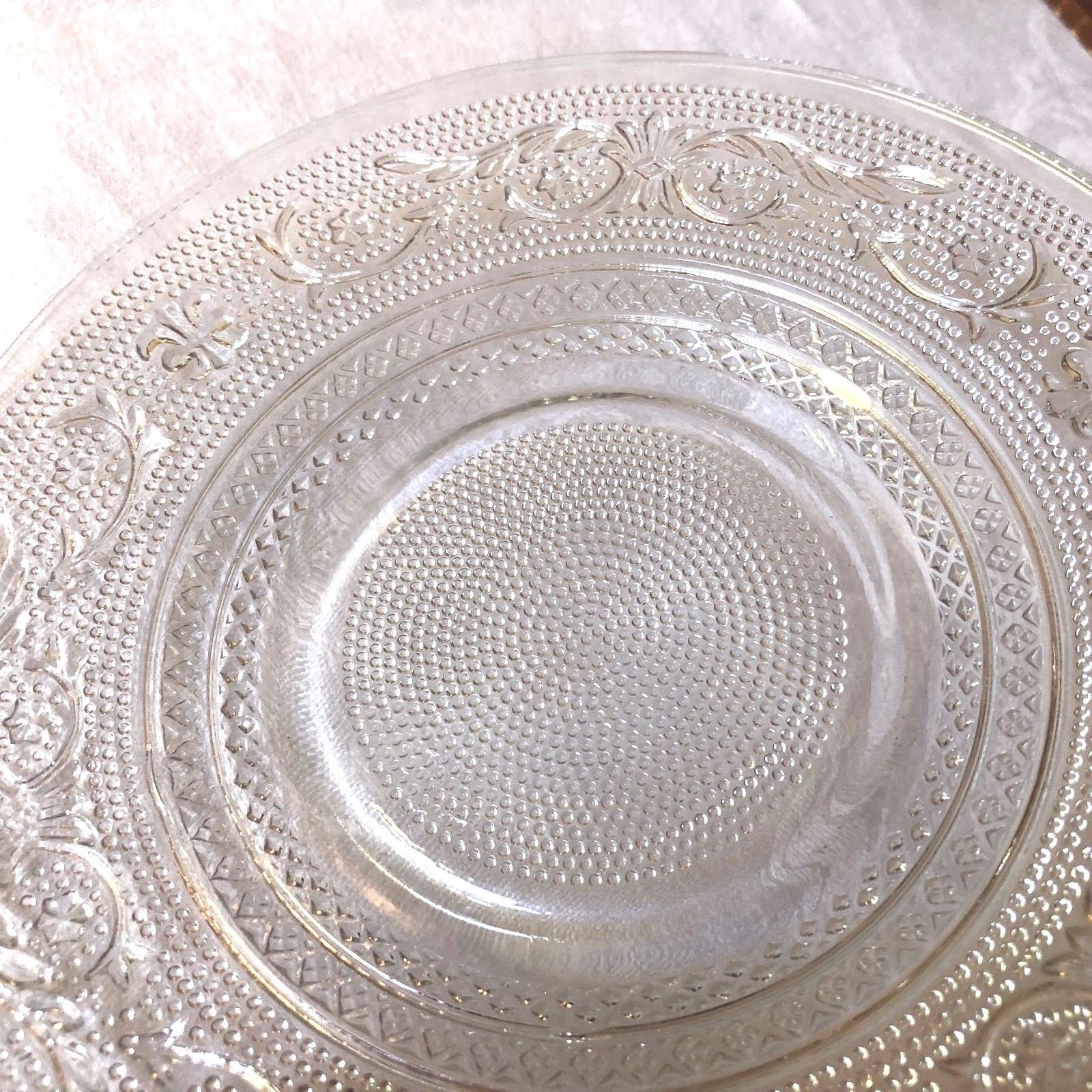 """VTG SET OF 2 INDIANA CUT PRESSED CLEAR GLASS 7"""" PLATE DISH image 3"""