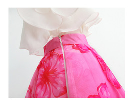 Summer Pink Floral Midi Party Skirt Outfit Organza Plus Size Midi Skirt Pockets image 8