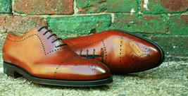 Handmade Men's Brown Heart Medallion Lace Up Dress/Formal Oxford Leather Shoes image 1