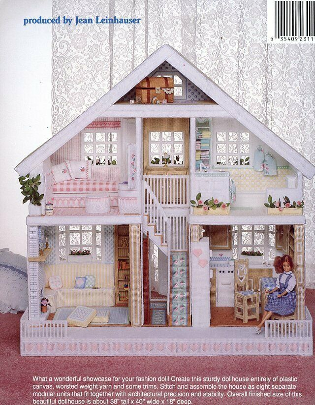 Fashion Doll House for Barbie Plastic Canvas Pattern Book RARE