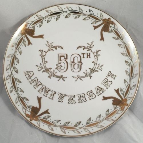 Vintage Lefton China 50th Anniversary Collector's Plate Japan #278 Hand Painted