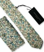 Frederick Thomas matching blue floral mens tie pocket square handkerchief set
