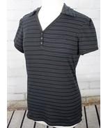 THE NORTH FACE Polo Shirt Short Sleeve V-Neck Women's M Black White Stri... - $28.71