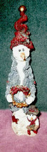 Folkstone Vintage Jingles & Son With Wreath Snowman Figurine #489 Boyds Bears - $11.43