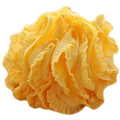 Set Of Two Lovely Soft Chiffon Lace Bath Ball Bath Spend More Upset(Yellow)