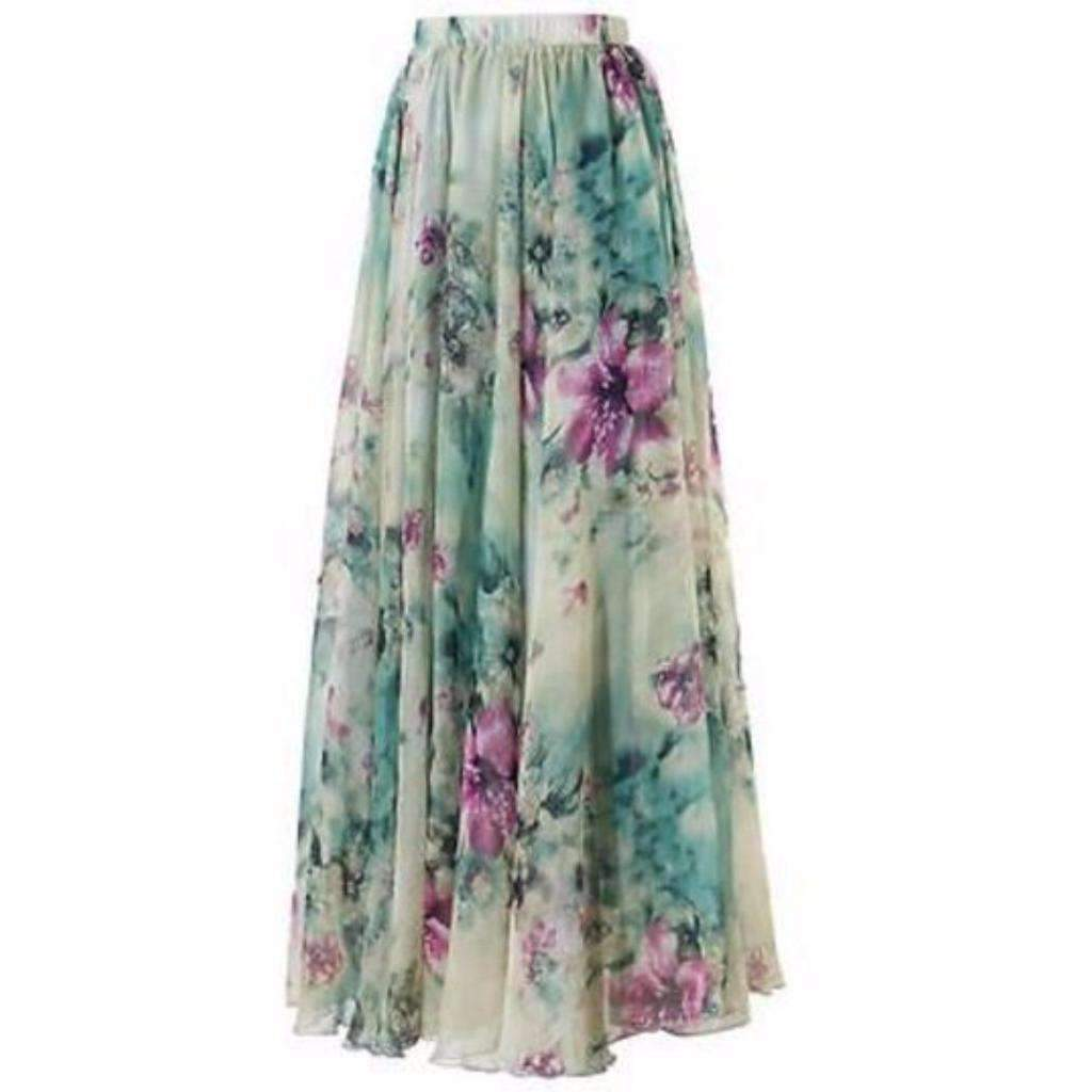 Daisy dress for less maxi skirts chiffon pleated floral print women long skirts 1388393005087