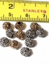2 - Flowers Floral Round Fine Pewter Beads - 5mm 1.5mm Hole image 3