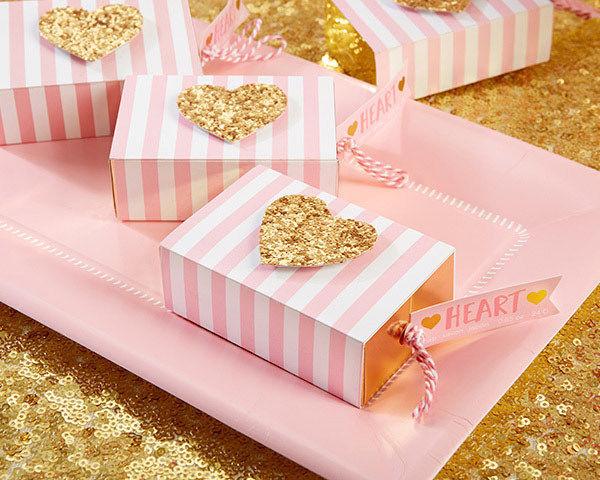Pink Stripe Gold Glitter Heart Soap Wedding Bridal Baby Shower Favor 25 to 96