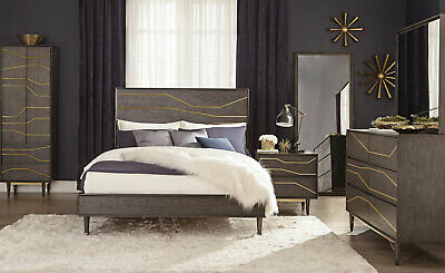 Modern style gray mahogany bedroom furniture 5pcs king - Mahogany bedroom furniture contemporary ...