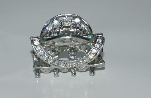 Silver Color diamond like Rhinestones Hair Claw Clip Cut out Circle design