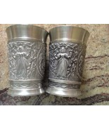 "2  Vintage Glass Pewter REIN ZINN BMF made in Germany 3.5"" - $48.51"