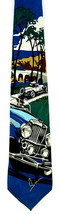 Duesenberg Men's Neck Tie Ralph Marlin US Race Luxury Cars Silk Blue Nec... - $34.60
