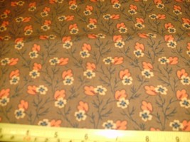 1/2 Yd Andover Fabric Quilt Study Ctr Orange Leaf Gold Flower Brown - $5.49
