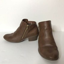 American Eagle Ankle Booties Size 6.5 Brown Faux Leather Gold Side Zipper  - $29.70